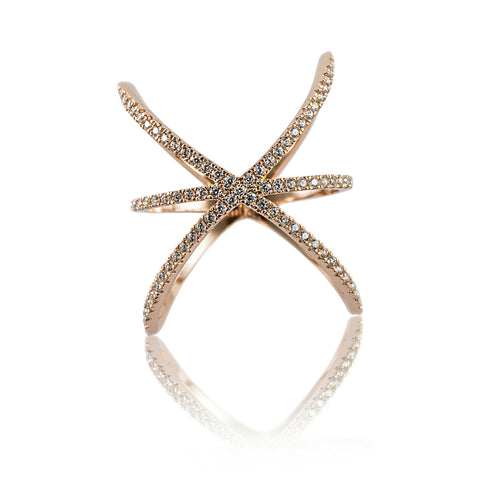 Aurum Mod rose gold-plated star-shaped studded ring