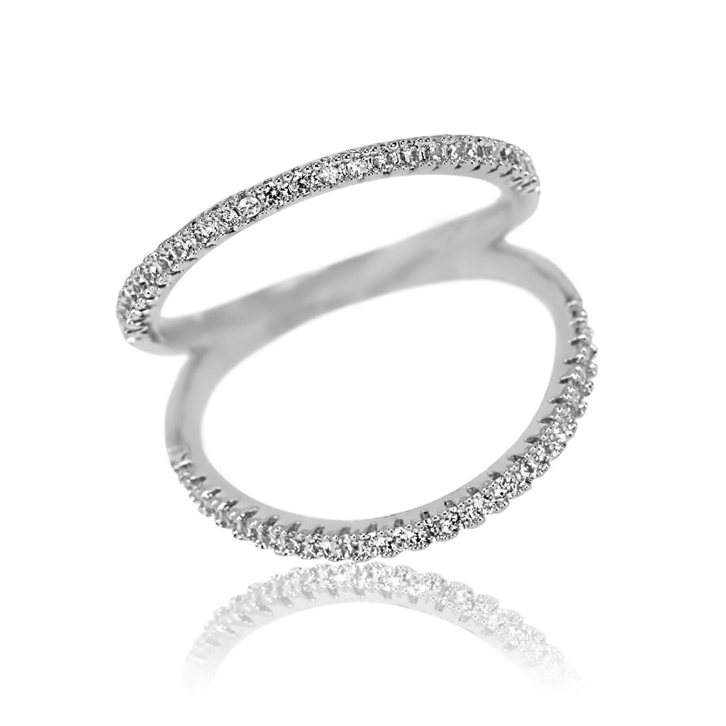 Aurum Mod cubic zirconia and white gold-plated ring