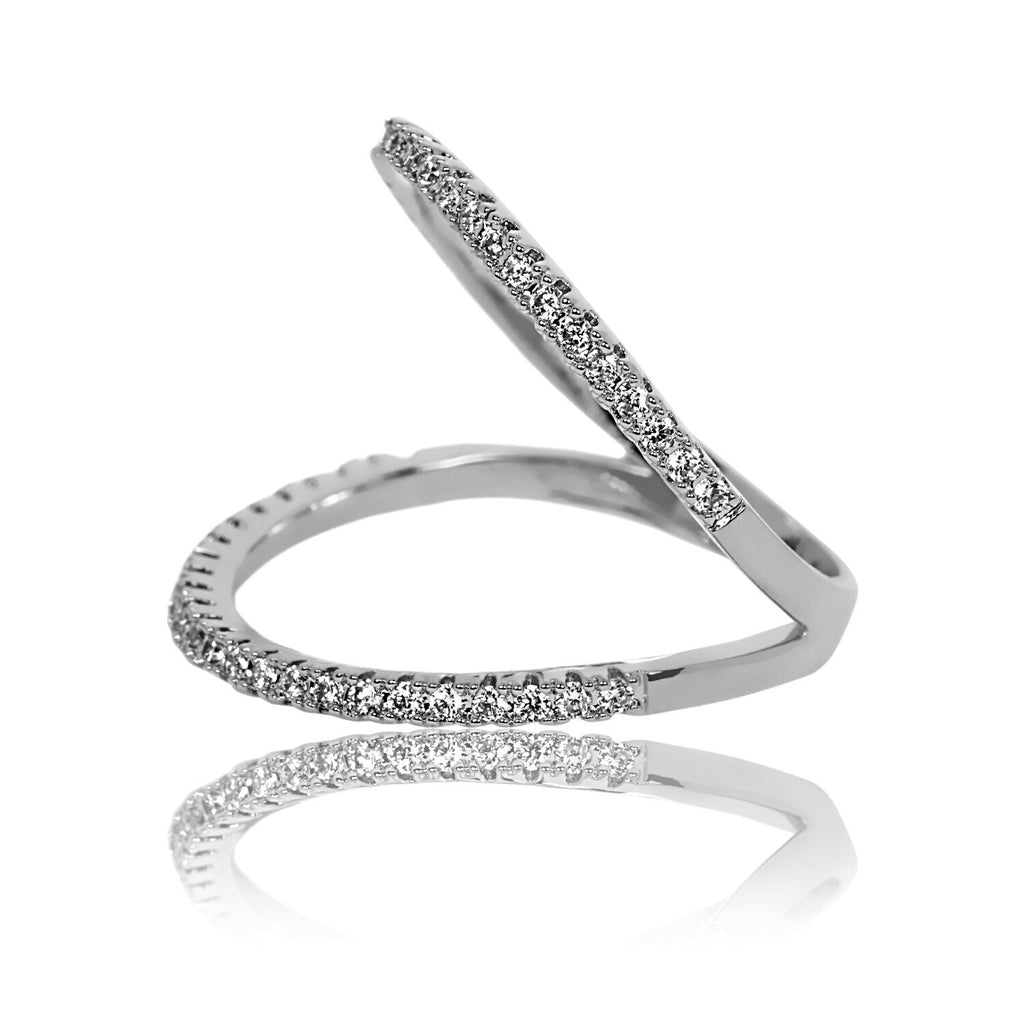 side view of Aurum Mod cubic zirconia and white gold-plated ring