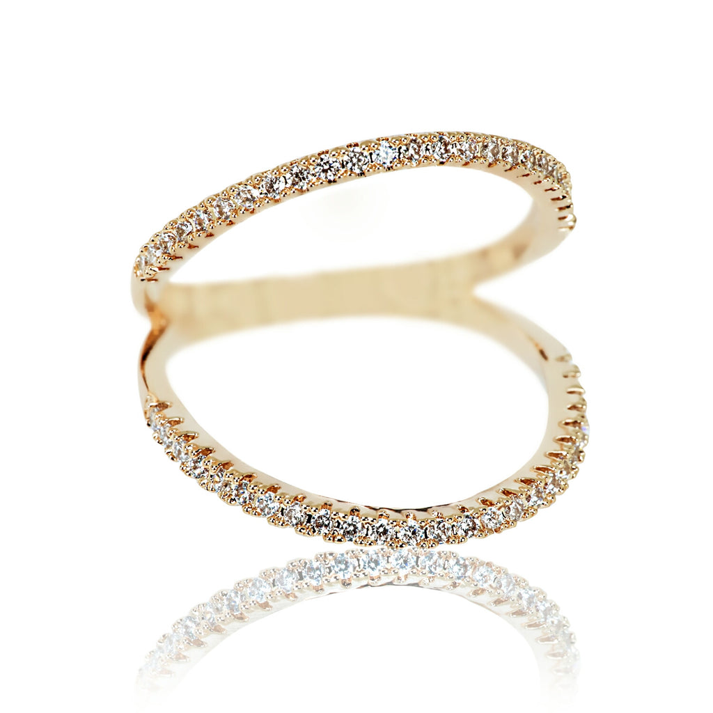 Aurum Mod cubic zirconia and yellow gold-plated ring