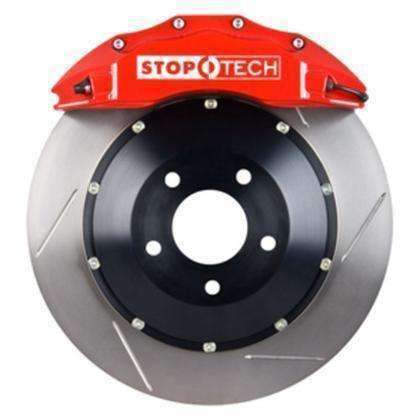 StopTech 08-09 Evo X Front BBK w/ Red ST-60 Calipers Slotted 355x32mm Rotors Pads and SS Lines