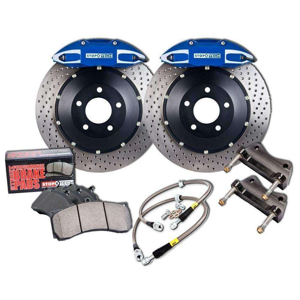 StopTech 08-11 Evo X Rear BBK ST-40 Calipers Drilled 345x28mm Rotors/Pads/SS Lines - Draven Performance