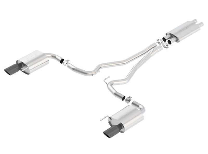 Borla Touring Catback Exhaust (Black Tips) | 2015-2017 Mustang GT - Draven Performance