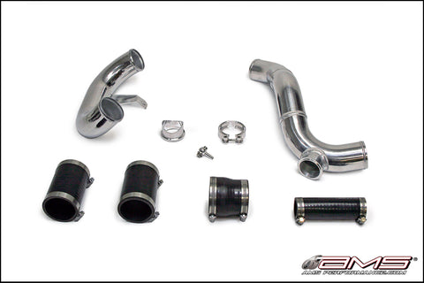 AMS Performance Lower Intercooler Pipe Kit (Flanged for TIAL BOV) - Polished - Draven Performance