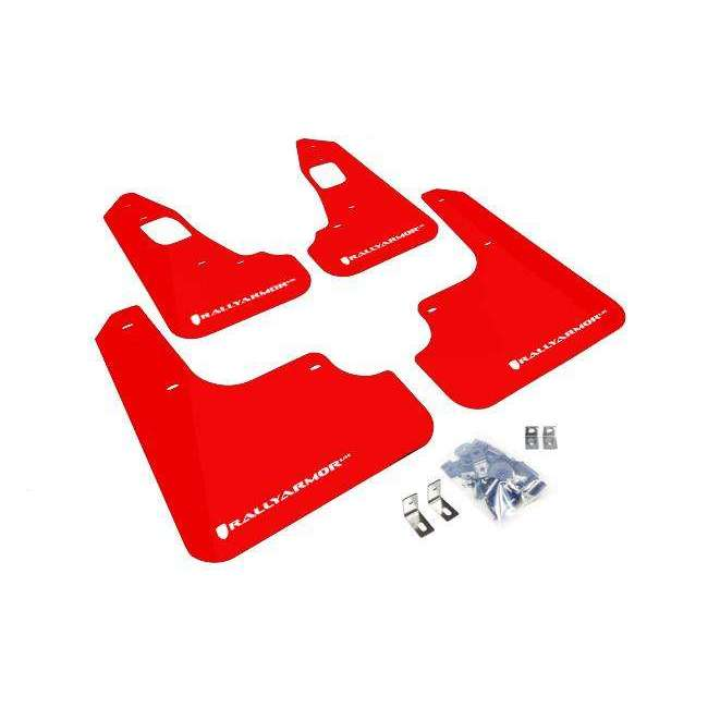 Rally Armor UR Mudflaps Red Urethane White Logo - Mitsubishi Evolution X - Draven Performance
