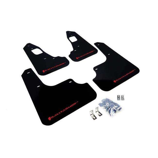 Rally Armor UR Mudflaps Black Urethane Red Logo - Mitsubishi Evolution X - Draven Performance