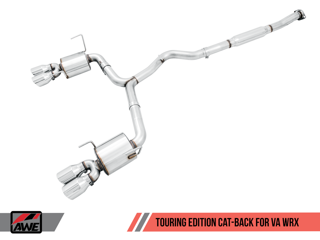 AWE Tuning Touring Edition Chrome Silver Quad (102mm) Tips Exhaust - 2015+ Subaru WRX - Draven Performance