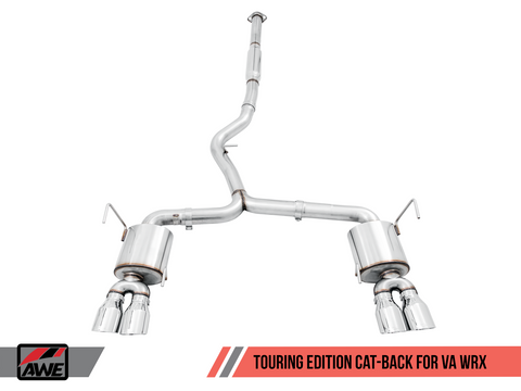 AWE Tuning Track Edition Chrome Silver Quad (102mm) Tips Exhaust - Subaru WRX | STI 2015-2019