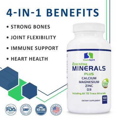 Essential Minerals - 1000mg Calcium, 500mg Magnesium, Zinc, D3 + All 72 Trace Minerals & Iron Free