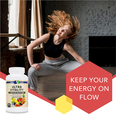 VEGAN Ultra Vitality - Daily Multivitamin, Whole Food Supplement - 42 RAW FRUITS & VEGGIES - Antioxidants & Enzymes