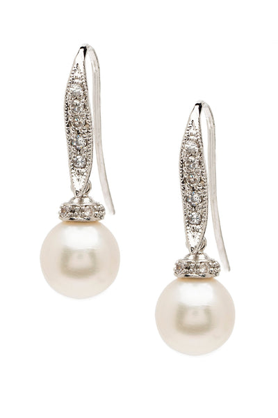 White Freshwater Pearl Dangling Earrings