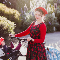 Vintage Style Dress Outfit for a Bike Ride with Baby