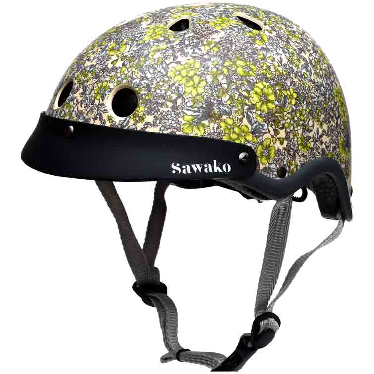 Sawako Womens Floral Cream Bicycle Helmet