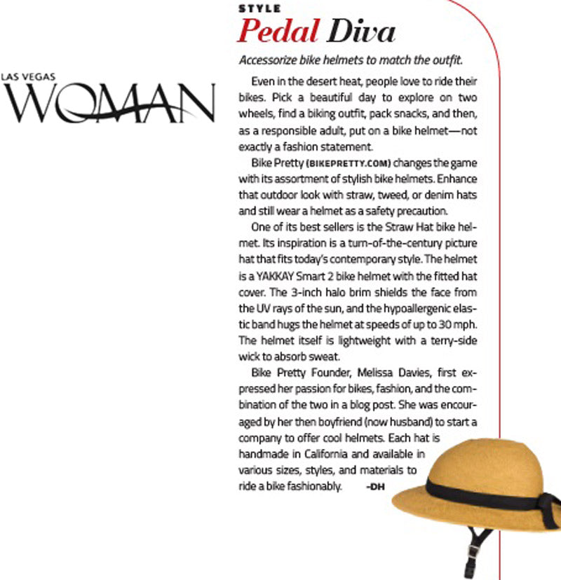 Bike Pretty Straw Hat Bike Helmet in Las Vegas Woman Magazine