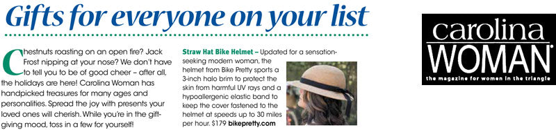 Bike Pretty Straw Hat Bike Helmet in Carolina Woman Gift Guide