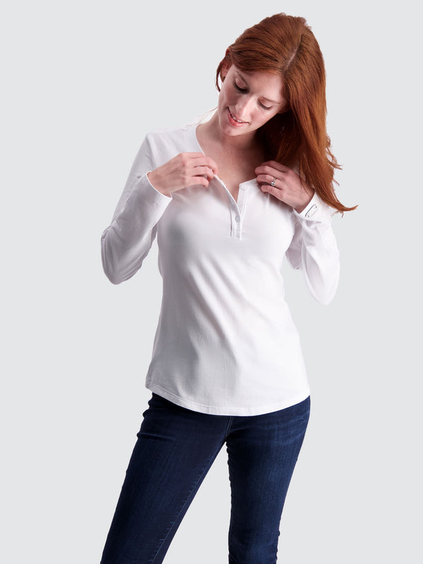 Two Blind Brothers - Womens Women's Long Sleeve Relaxed Fit Henley White