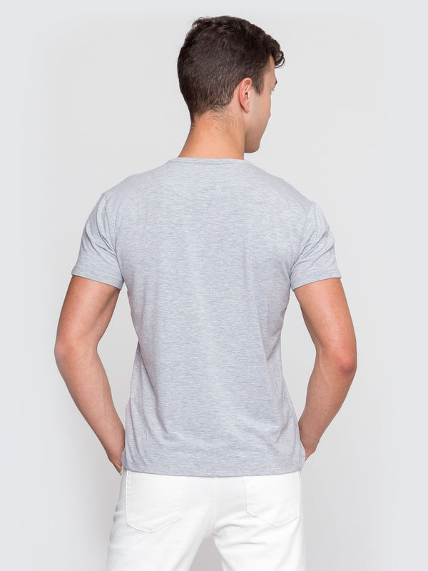 Two Blind Brothers - Mens Men's Short Sleeve Henley Light-Grey