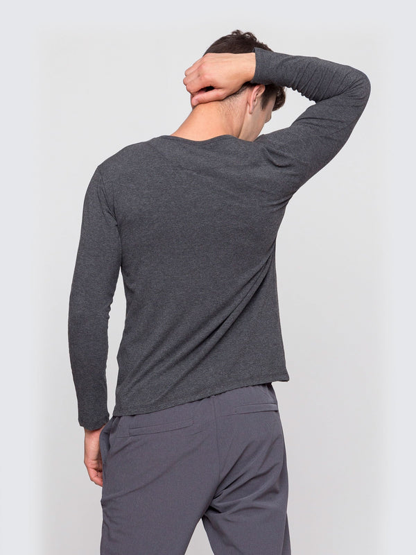 Two Blind Brothers - Mens Men's Long Sleeve Henley Charcoal