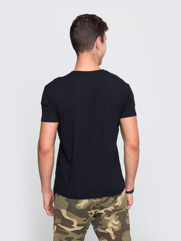 Two Blind Brothers - Mens Men's Short Sleeve Henley Black