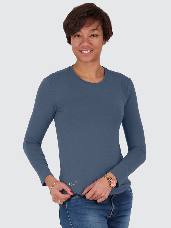 Two Blind Brothers - Womens Women's Long Sleeve Crewneck Washed-Navy