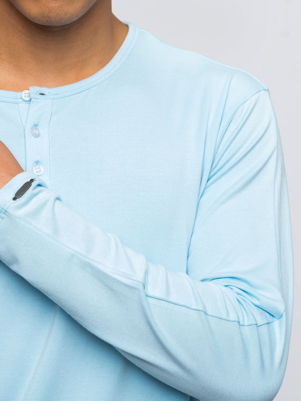 Two Blind Brothers - Mens Men's Long Sleeve Henley Light-Blue