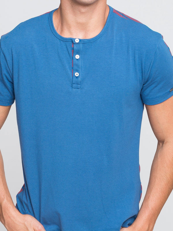 Two Blind Brothers - Mens Men's Short Sleeve Henley Blue-and-Rose-Stripe