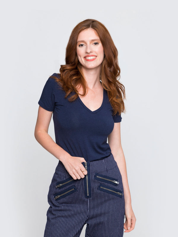 Two Blind Brothers - Womens V-Neck Navy