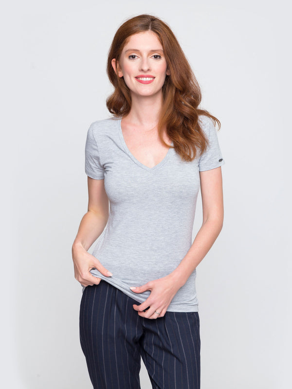 Two Blind Brothers - Womens V-Neck Light-Grey