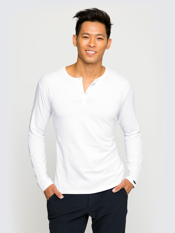 Two Blind Brothers - Mens Men's Long Sleeve Henley White