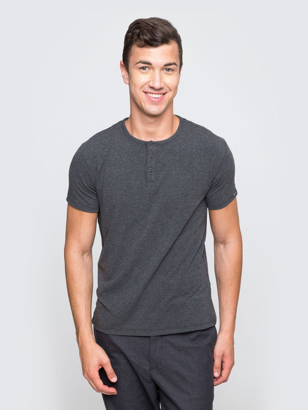 Two Blind Brothers - Mens Men's Short Sleeve Henley Charcoal
