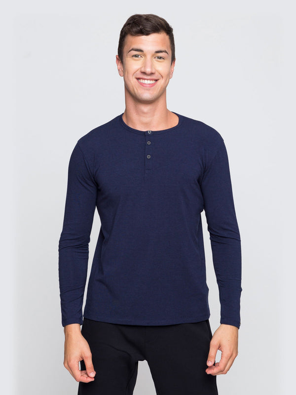 Two Blind Brothers - Mens Men's Long Sleeve Henley Navy