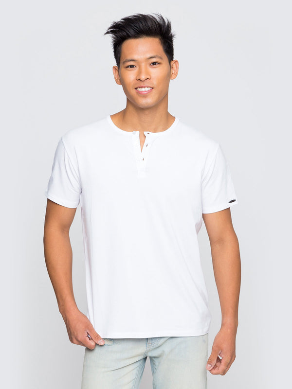 Two Blind Brothers - Mens Men's Short Sleeve Henley White