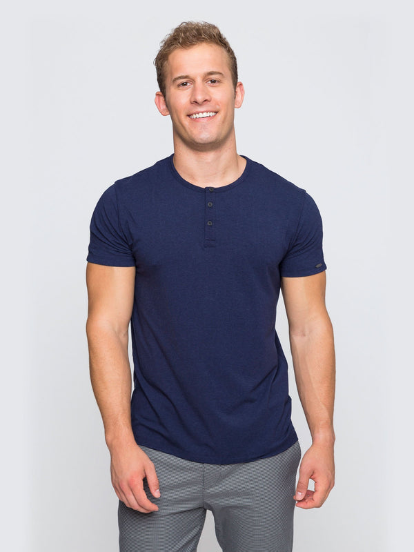 Two Blind Brothers - Mens Men's Short Sleeve Henley Navy