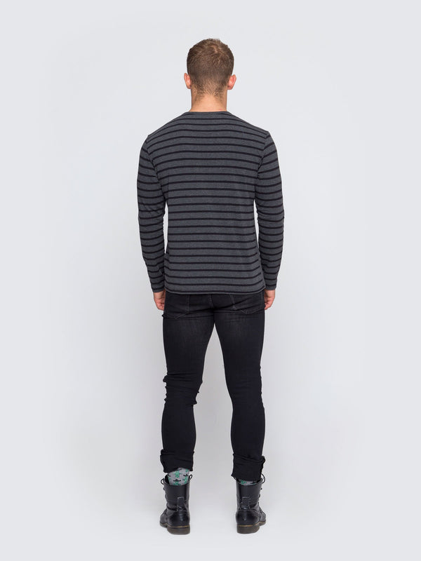 Two Blind Brothers - Mens Men's Long Sleeve Henley Charcoal-and-Black-Stripe