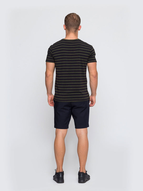 Two Blind Brothers - Mens Men's Short Sleeve Henley Forest-and-Black-Stripe