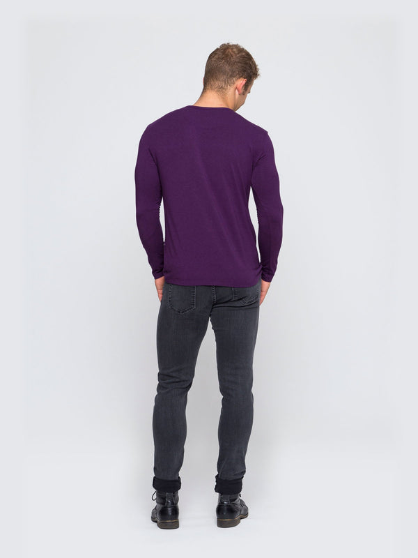 Two Blind Brothers - Mens Men's Long Sleeve Henley Plum