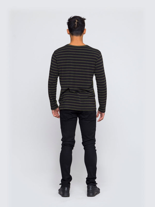 Two Blind Brothers - Mens Men's Long Sleeve Henley Forest-and-Black-Stripe