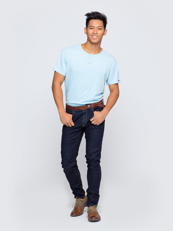 Two Blind Brothers - Mens Men's Short Sleeve Henley Light-Blue
