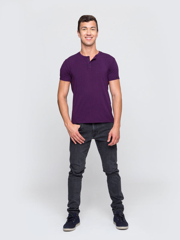 Two Blind Brothers - Mens Men's Short Sleeve Henley Plum