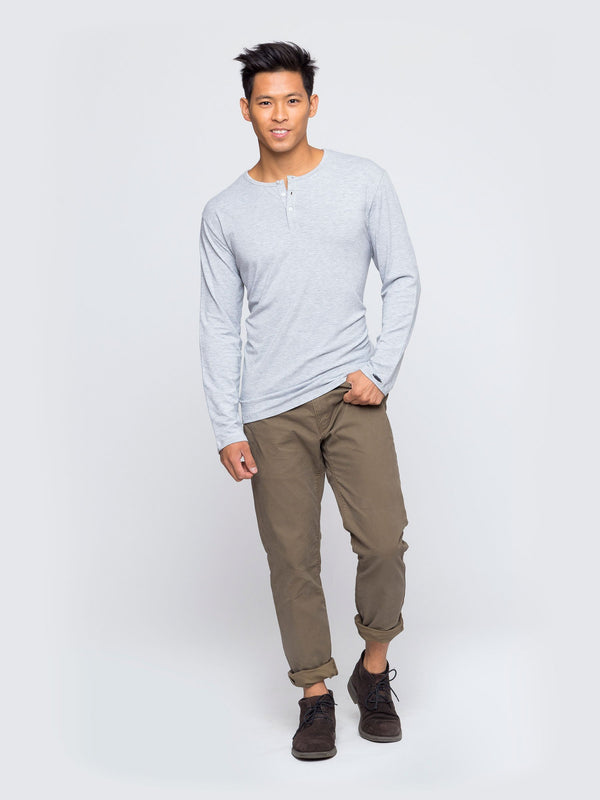 Two Blind Brothers - Mens Men's Long Sleeve Henley Light-Grey