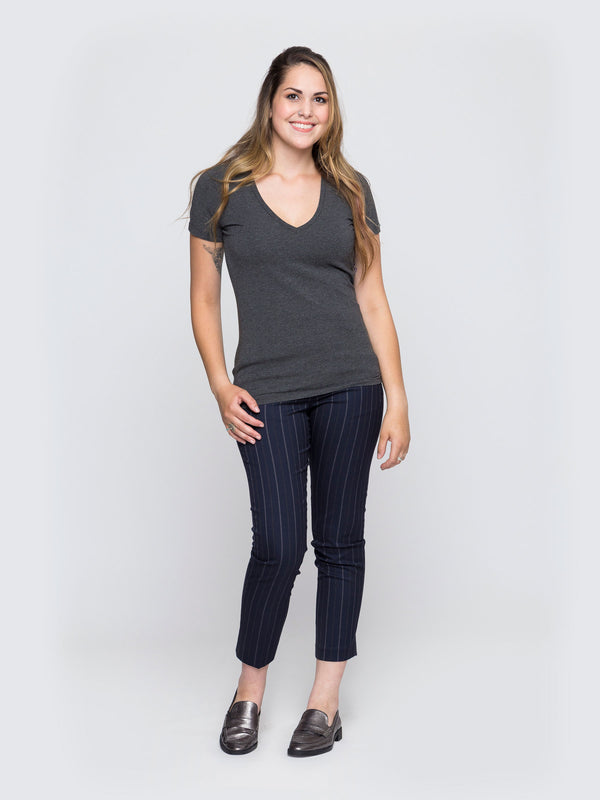 Two Blind Brothers - Womens V-Neck Charcoal