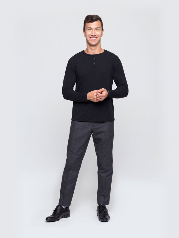 Two Blind Brothers - Mens Men's Long Sleeve Henley Black