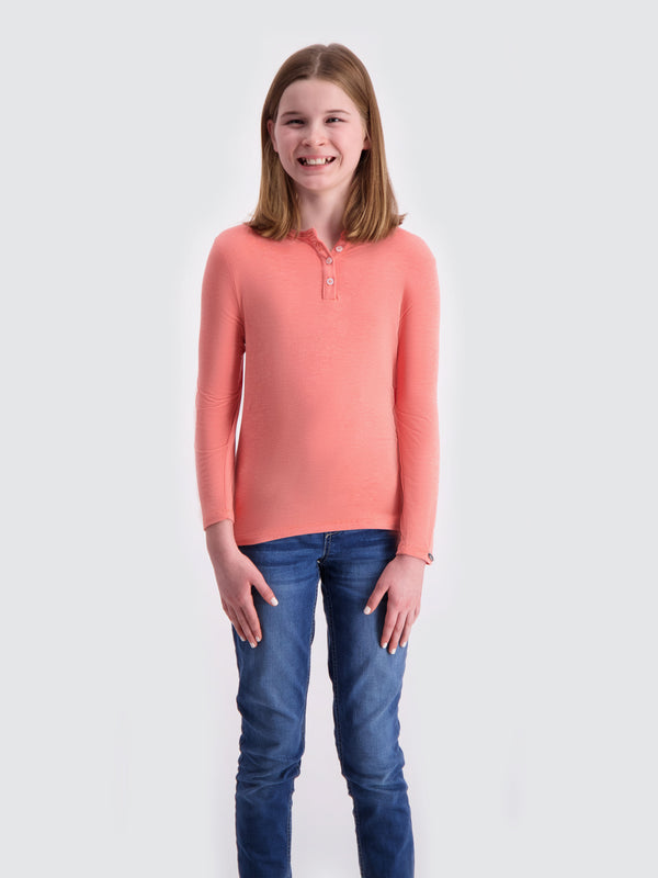 Two Blind Brothers -  Kids' Long Sleeve Henley Peach