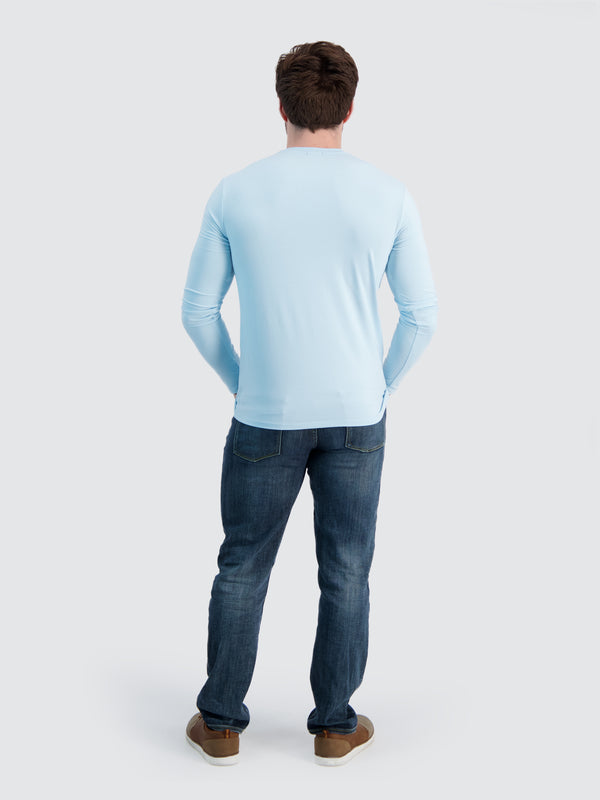 Two Blind Brothers - Mens Men's Long Sleeve Crewneck Tee Light-Blue