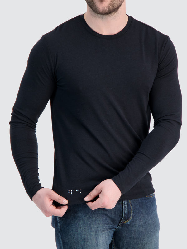 Two Blind Brothers - Mens Men's Long Sleeve Crewneck Tee Black