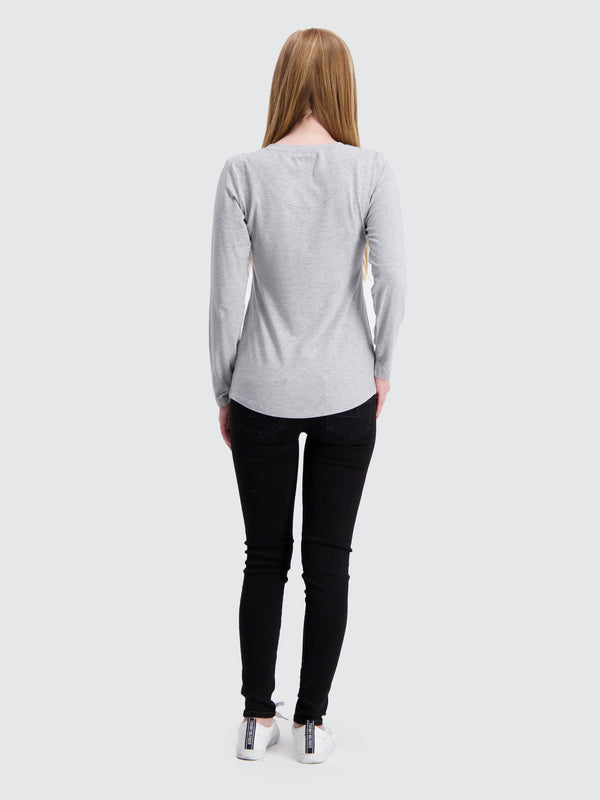 Two Blind Brothers - Womens Women's Long Sleeve Relaxed Fit Henley Light-Grey