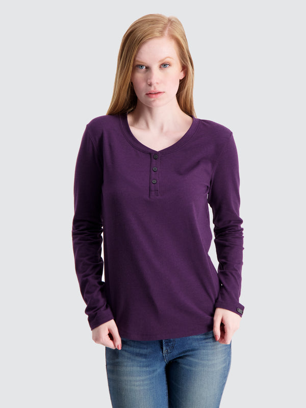 Two Blind Brothers - Womens Women's Long Sleeve Relaxed Fit Henley Plum