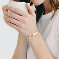 Love-is-Blind-Gold-Plated-Bangle-Bracelet thumbnail