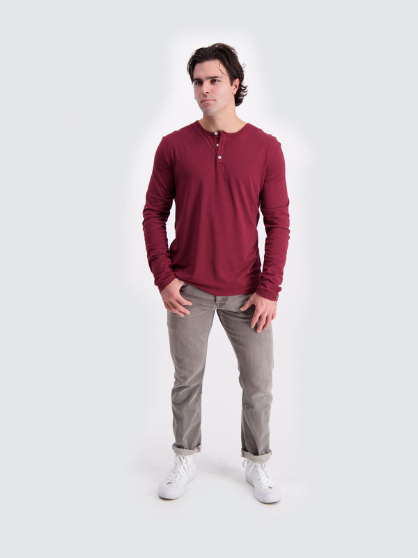 Two Blind Brothers - Mens Men's Long Sleeve Henley Maroon