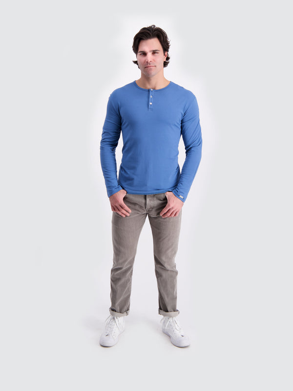 Two Blind Brothers - Mens Men's Long Sleeve Henley Blue